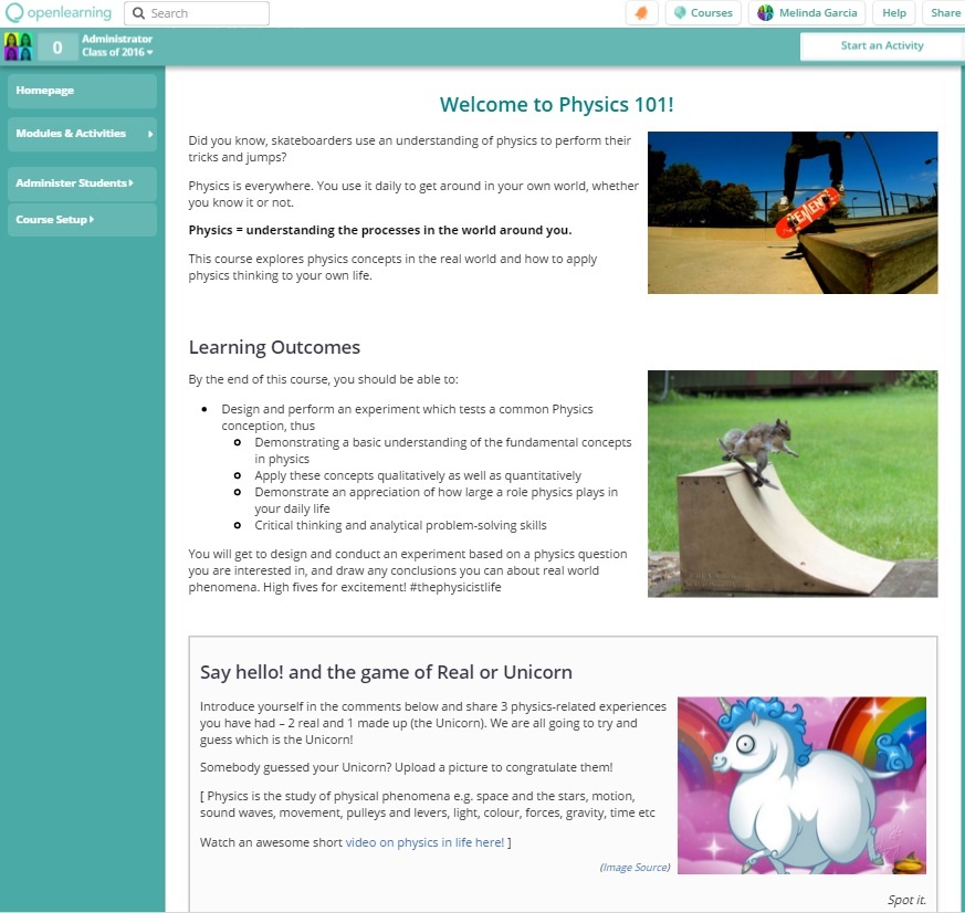 Physics101 Welcome Homepage