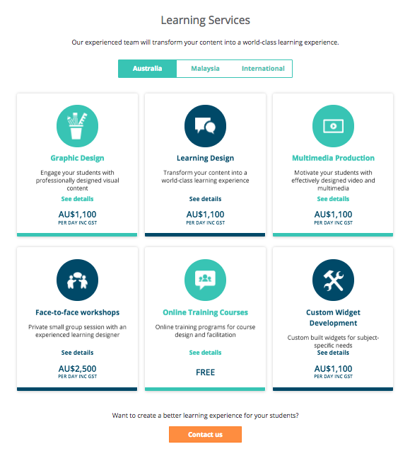 Learning Services Pricing Page