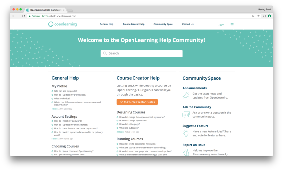 OpenLearning Help Community Screen 1