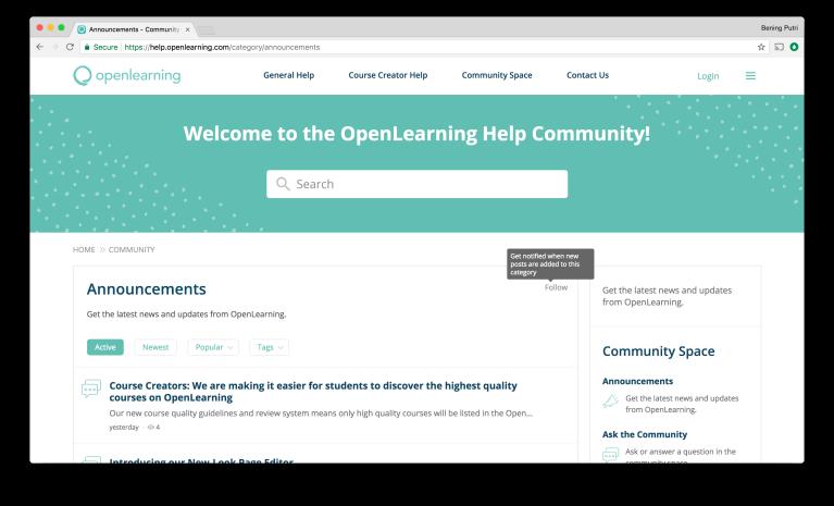 OpenLearning Help Community Screen 2