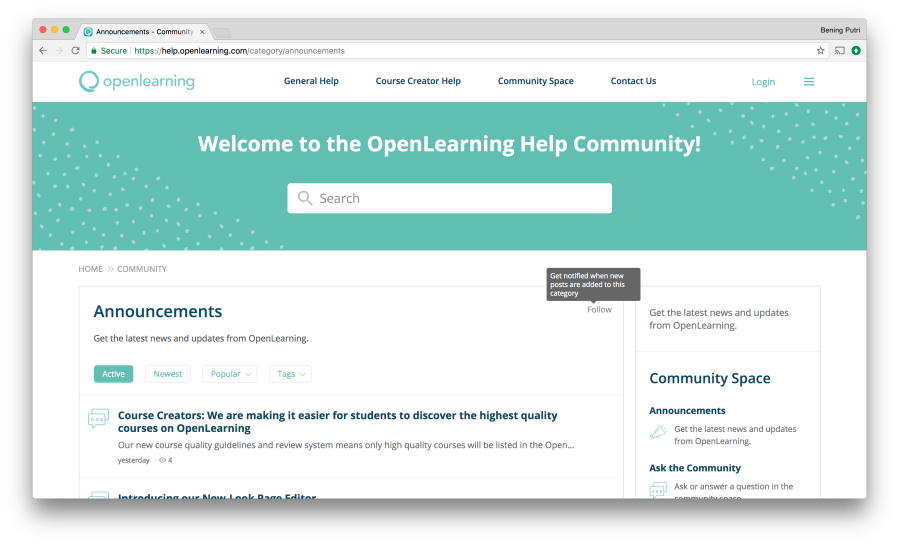 OpenLearning Help Community Screen 2