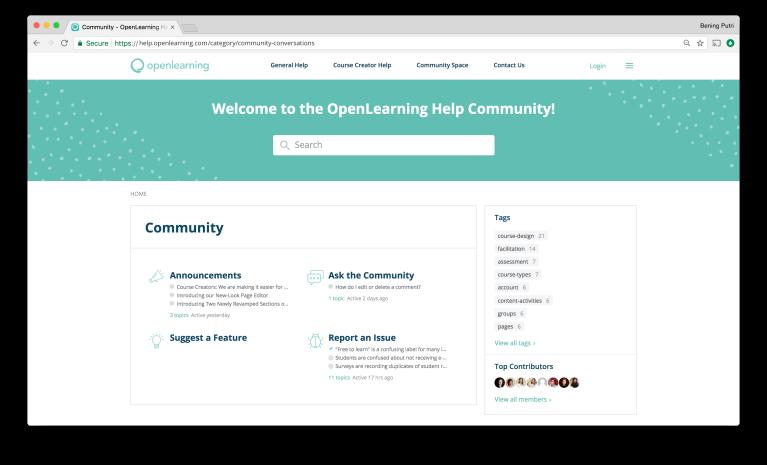 OpenLearning Help Community Screen 3