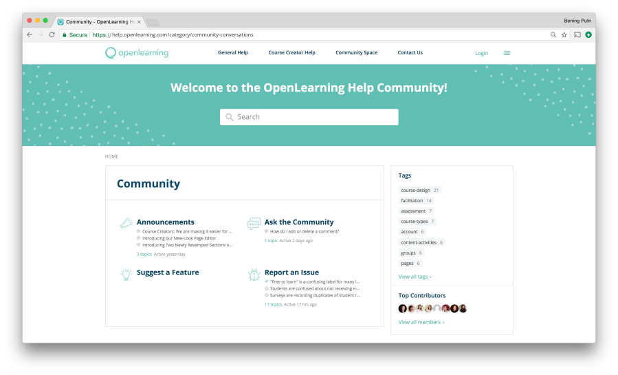OpenLearning Help Community Screen 3