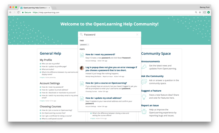OpenLearning Help Community Screen 4