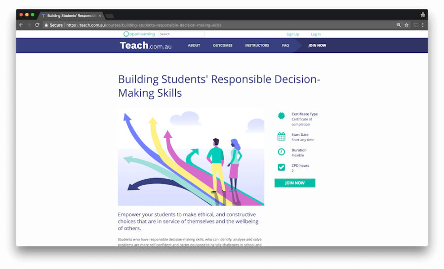 course landing page